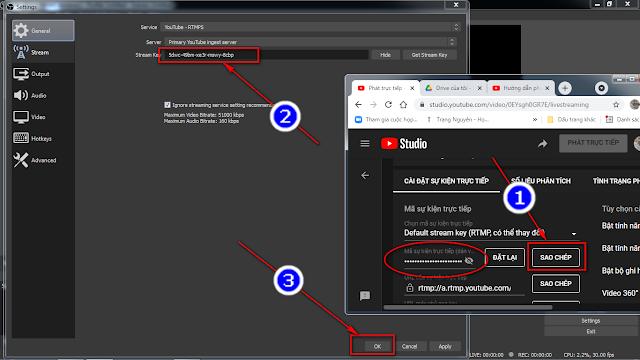 Cấu hình chi tiết để liên kết Youtube và phần mềm OBS