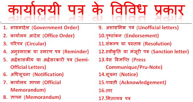 कार्यालयी पत्र - सरकारी या कार्यालयी पत्र, प्रारूप या रूपरेखा और उदाहरण