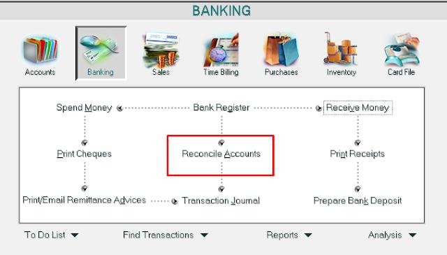 Langkah-Langkah Membuat Rekonsiliasi Bank di Myob