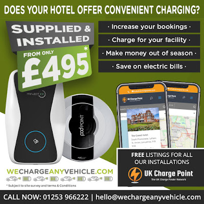 Blackpool Hotels Weekly Goings-On Shows and Events Newsletter, Sponsored by WeChargeAnyVehicle.com Hotel Electric Car Charging