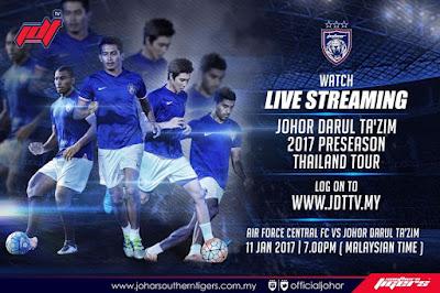 Live Streaming JDT vs Air Foorce Central FC 11.1.2017