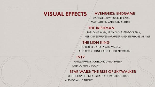 Resultado de imagen de categoria efectos visuales 2020