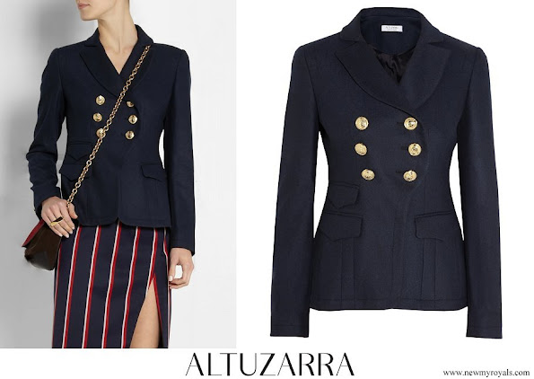 Crown Princess Mette Marit wore ALTUZARRA seth double breasted gabardine blazer