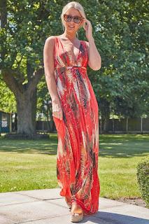 orange Abstract Print Sleeveless Maxi Sundress design