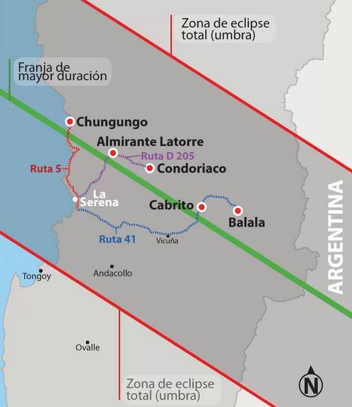 Eclipse solar 2019 Chile lugares