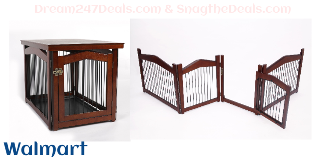 """2 in 1 Single-Door Wooden Dog Crate and Gate, Large, 39""""L"""