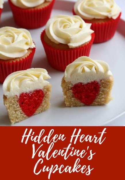 Hidden Heart Valentine's Cupcakes