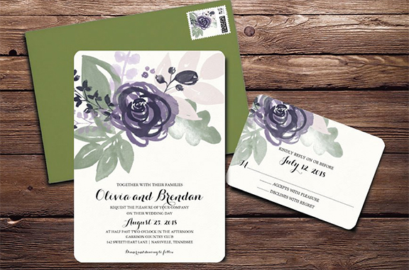 Purple Watercolor Flowers Wedding Invitation using Photoshop Brushes