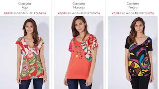camisetas mujer de manga corta marca Desigual