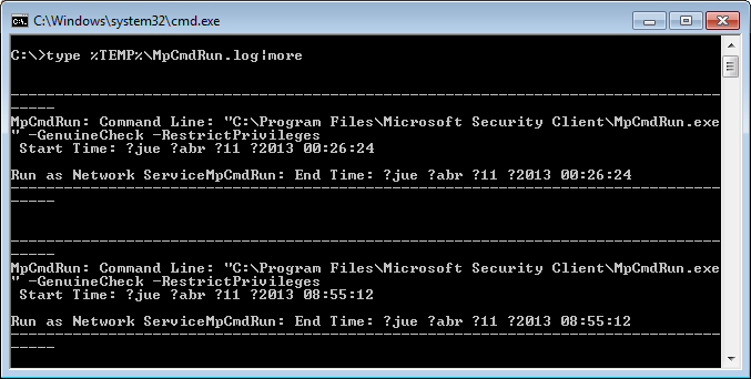 Microsoft Security Essentials desde CMD