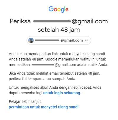 Google meminta Anda menunggu 48 jam sebelum mereset password