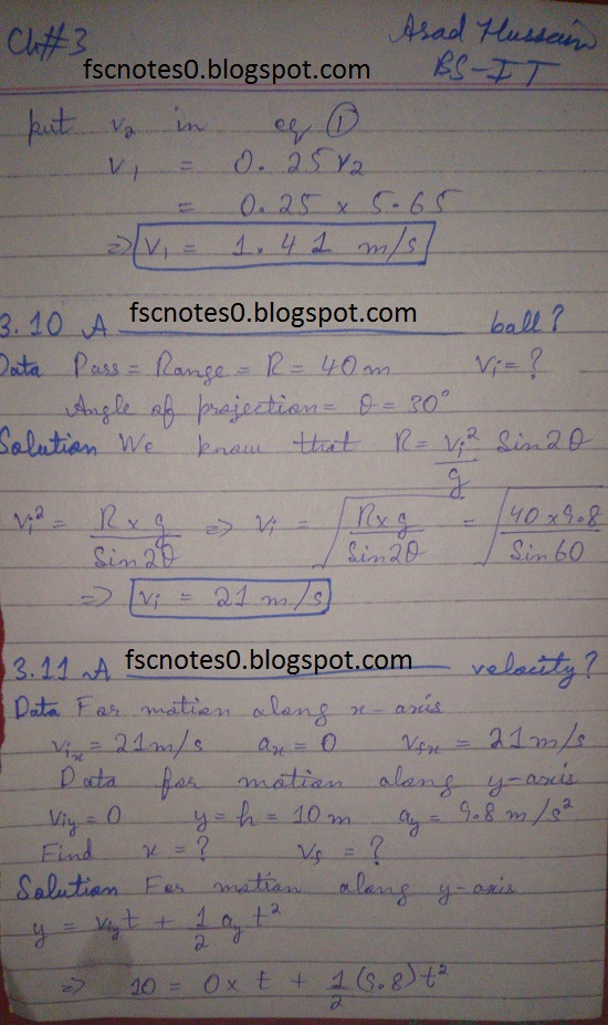 F.Sc ICS Notes: Physics XI: Chapter 3 Motion and Force Numerical Problems Asad Hussain 6