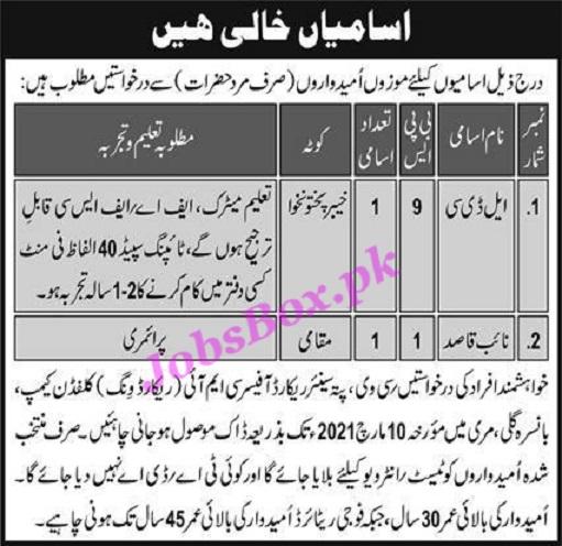 Pakistan Army Jobs for LDC & Naib Qasid