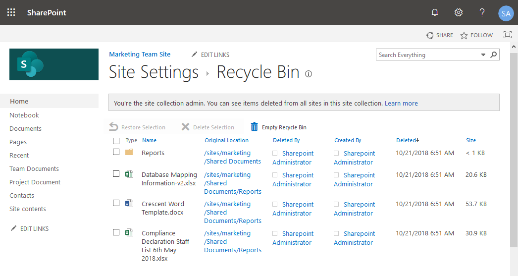 sharepoint online recycle bin restore powershell