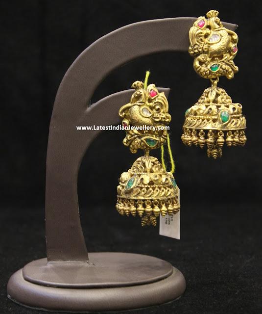 Grand Peacock Gold Jhumkis