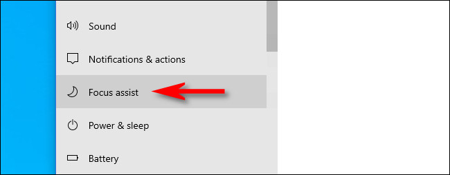 """في إعدادات Windows ، انقر فوق """"مساعدة التركيز"""" في الشريط الجانبي للنظام."""