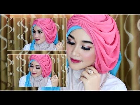 cara memakai jilbab segi empat 2 warna untuk kebaya