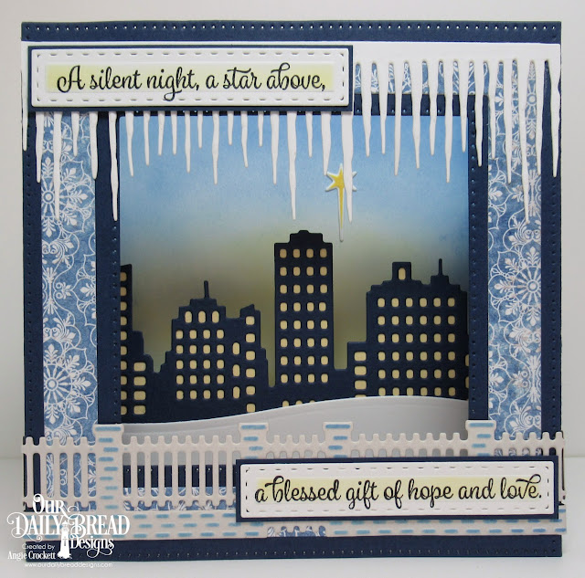 ODBD Christmas Card Scriptures, ODBD Custom Diorama with Layers Dies, ODBD Custom City Skyline Die, ODBD Custom Icicle Border Die, ODBD Custom Brick Gate Die, ODBD Custom Log Cabin Quilt Die, ODBD Jesus Loves You Stamp/Die Duos, ODBD Christian Faith Paper Collection, Card Designer Angie Crockett