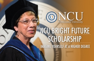 NCU Bright Futures Poster featuring a woman in cap and gown smiling at camera