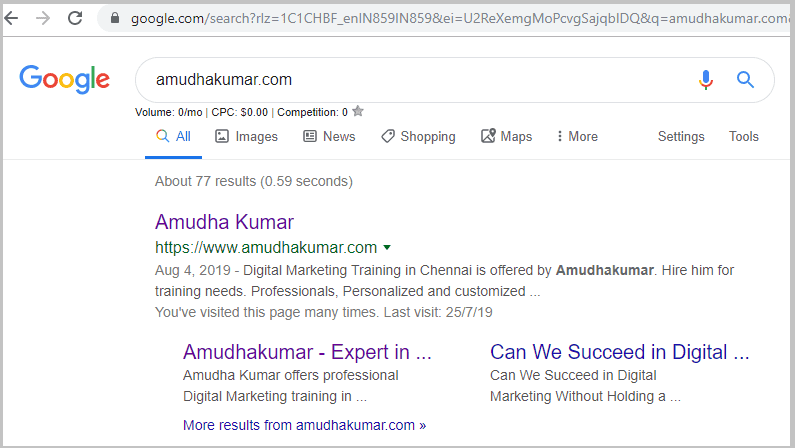 Google-Index-Status-for-Amudhakumar-website