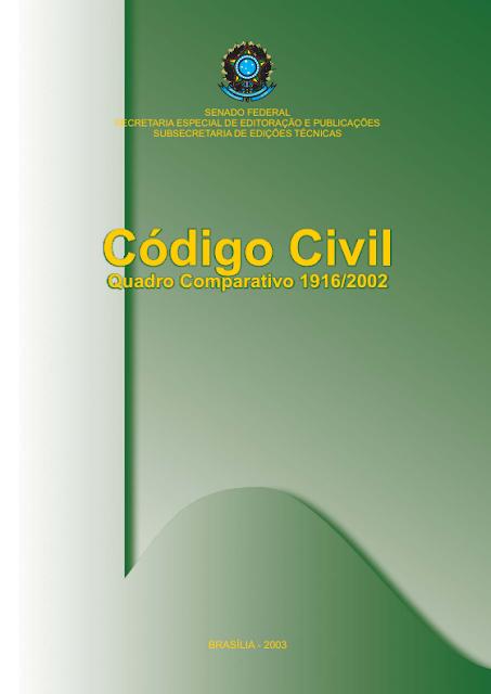 Novo código civil - quadro comparativo 1916 - 2002 - Secretaria Nacional Antidrogas - SENAD