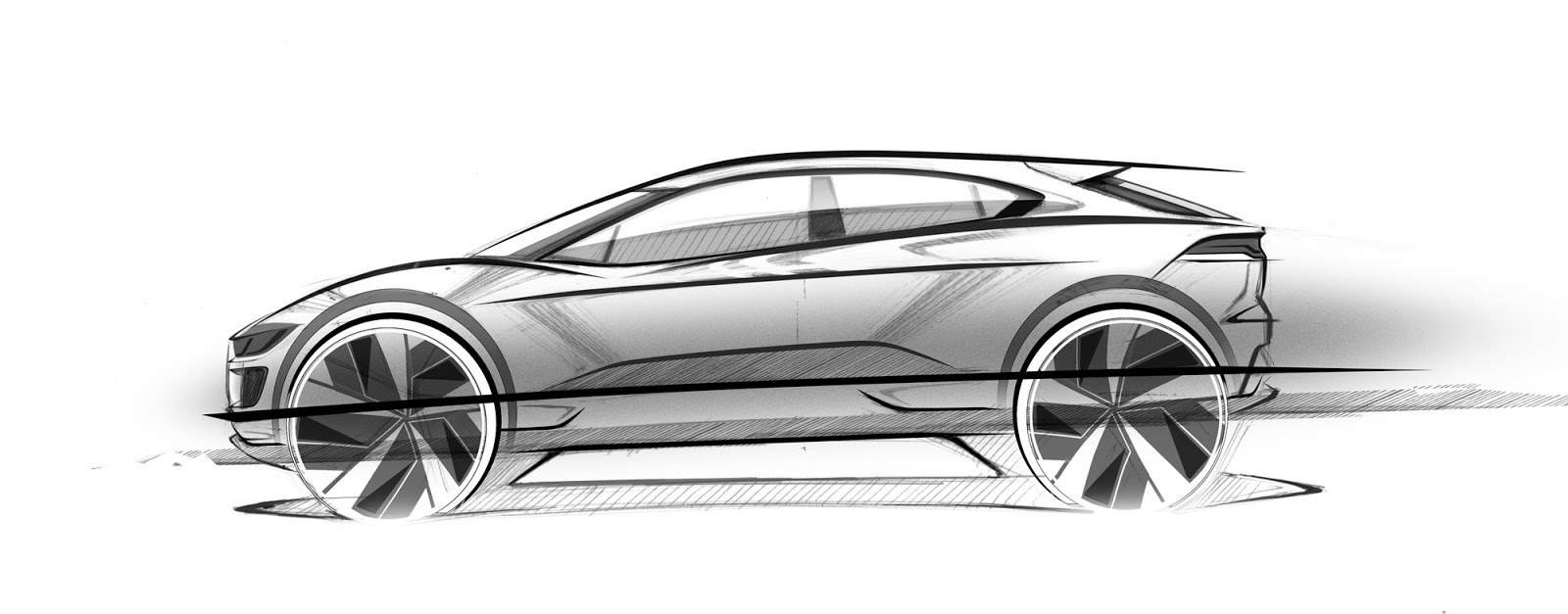 Jaguar I-Pace pencil sketch - side view
