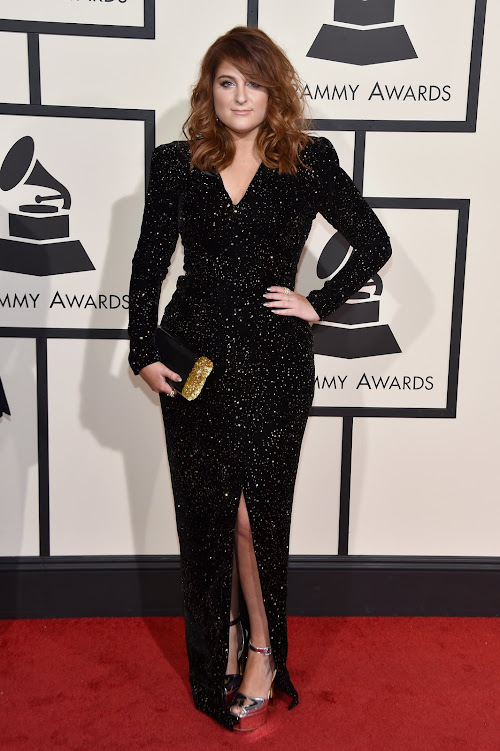 Meghan Trainor from the 2016 Grammys red carpet