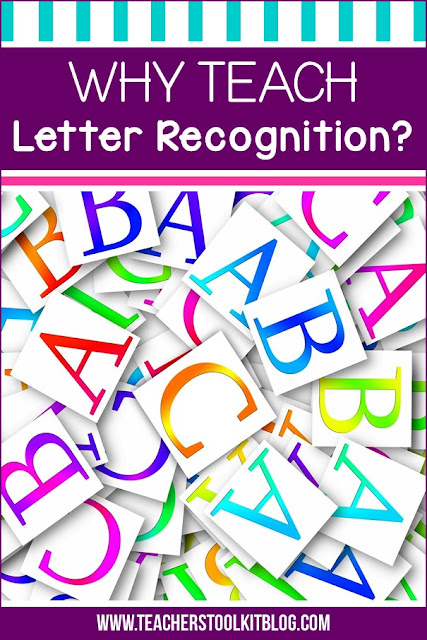 "Image of letters of the alphabet with text ""Why Teach Letter Recognition"""