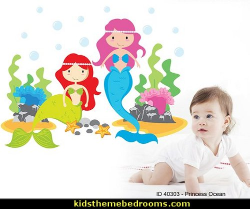Ocean,Fish and Sea Animals Mermaid Nursery Wall Decal   under the sea baby bedroom decorating ideas - ocean theme baby bedroom ideas - under the sea nursery decorating - under the sea wall murals - ocean wall decal stickers - fish theme - beach theme - mermaid theme