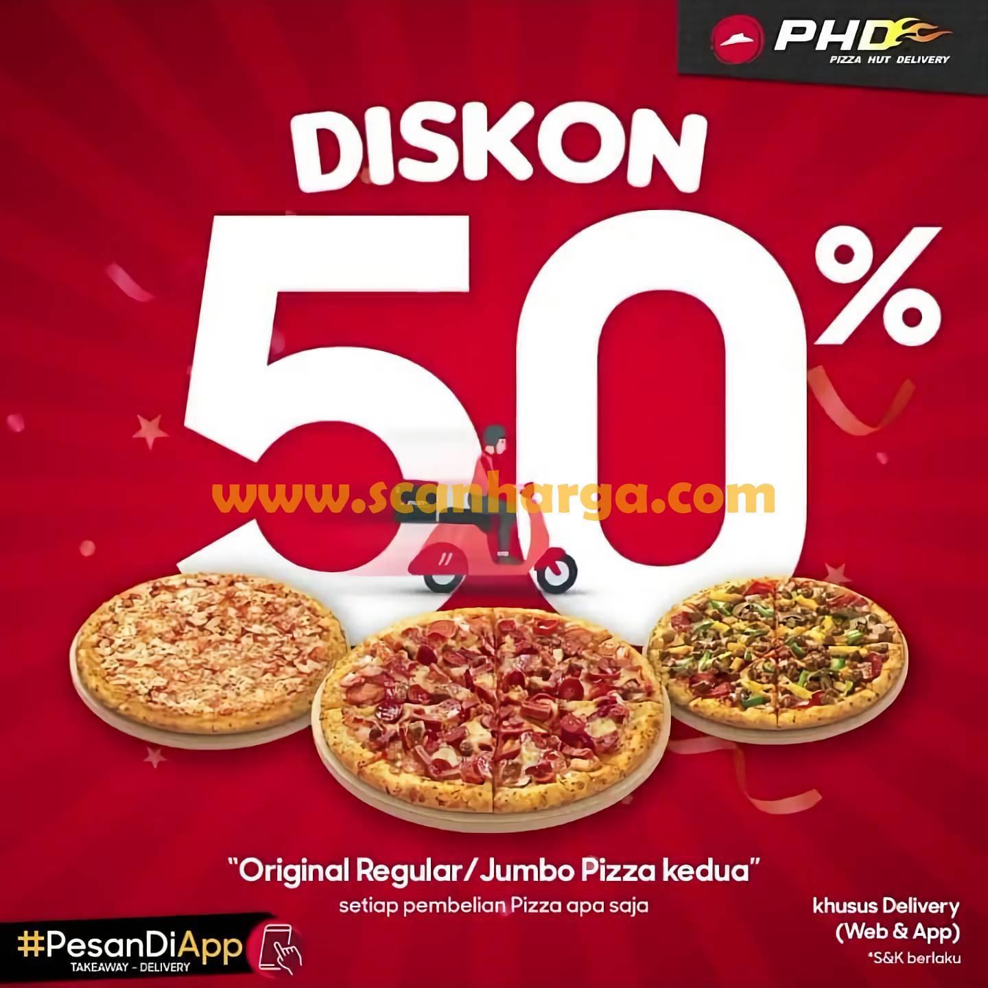 Promo Pizza Hut Delivery PHD Diskon 50% Pembelian Pizza Kedua Periode 14 - 30 September 2020