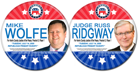 Mike Wolfe and Judge Russ Ridgway are the Rep Candidates for JP Precinct 5, Place 1