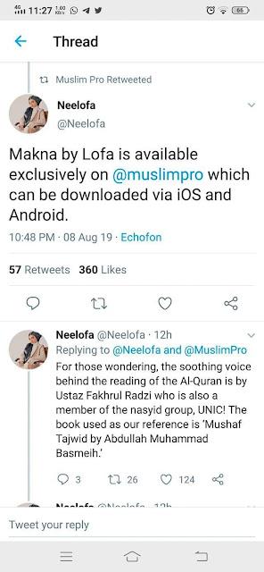 tweet Neelofa, Muslim Pro