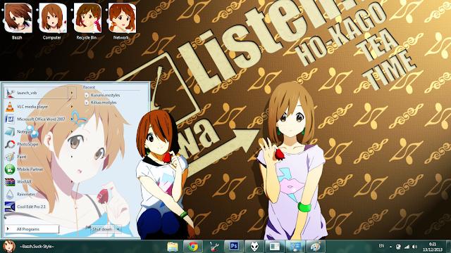 Windows 7 Theme K-ON! Yui Hirawawa by Bashkara