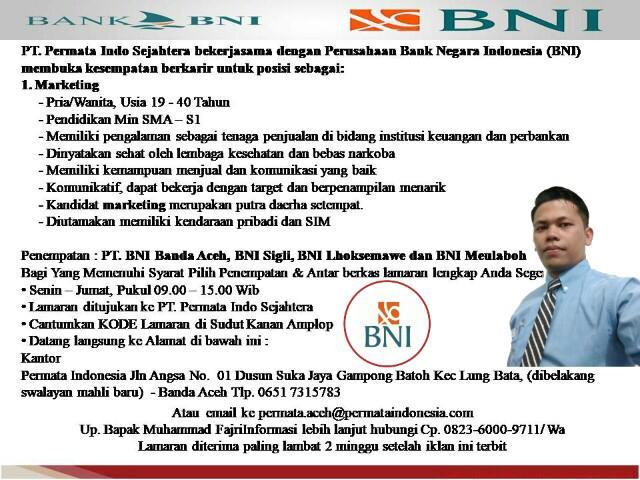 Lowongan Kerja Marketing Di Bank Bni Loker Banda Aceh