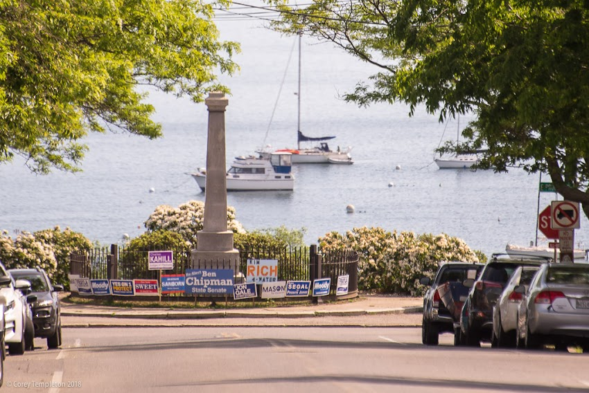 Portland, Maine USA June 2018 photo by Corey Templeton . Looking down Congress Street to the Obelisk Memorial to George Cleeves, one of the first settlers in what was then Machigone Neck.