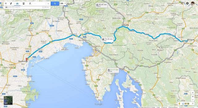Karta Zagreb - Marghera (Venecija)