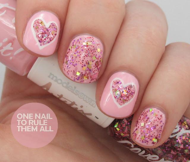 Pink Nail Polish with Glitter Heart