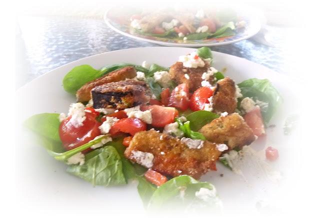 aubergine croutons eggplant salad
