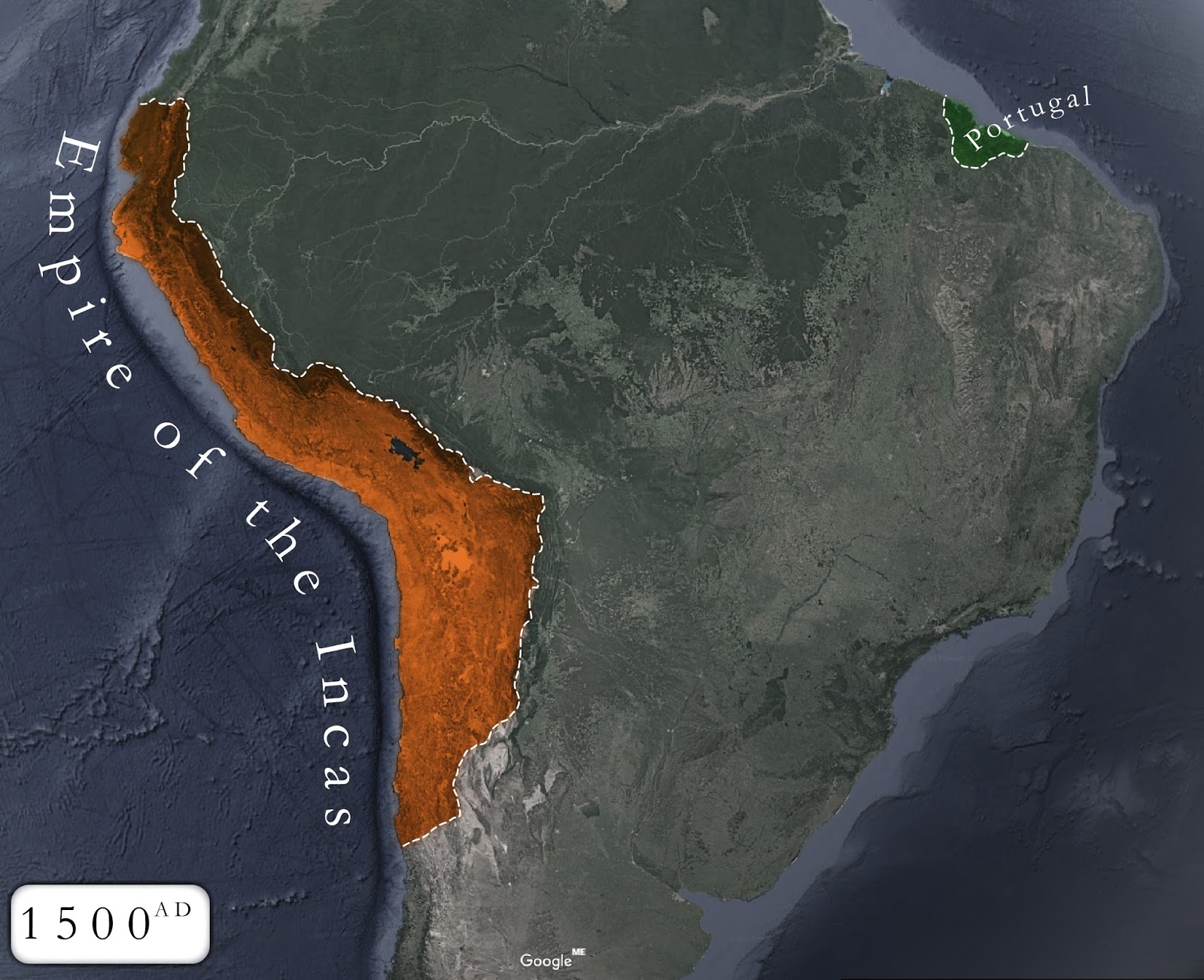 Inca Empire at its peak, before the War of the Two Brothers and the Spanish contact