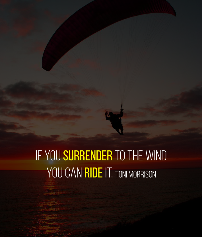 If you surrender to the wind you can ride it. Toni Morrison