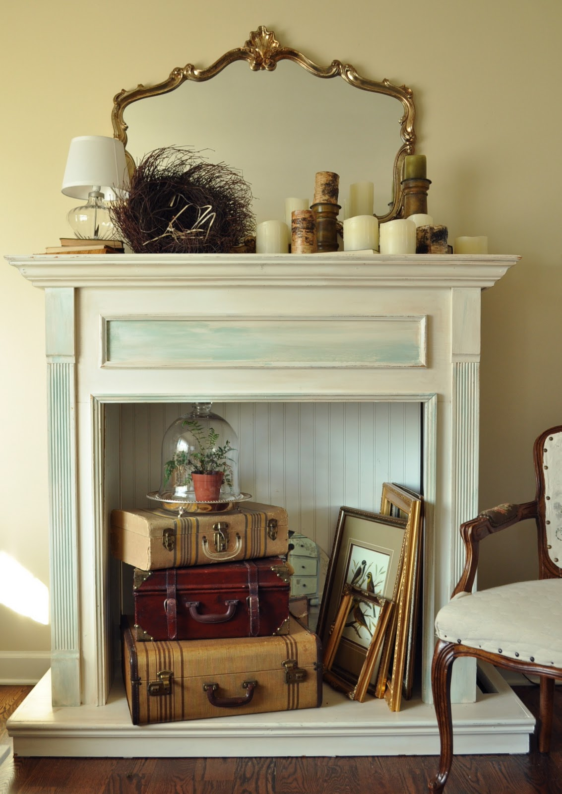 Adding the finishing touch with a faux fireplace mantel ...