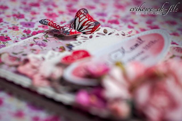 kartka ślubna ręcznie robiona,Ewa Jarlińska, Evik, Evikowe-ch-file, Wild orchid crafts, Kwiaty papierowe, Motyl, love, motyl z papieru