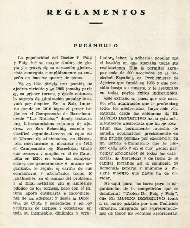 Preámbulo del Reglamento del I Trofeo Dr. Puig i Puig
