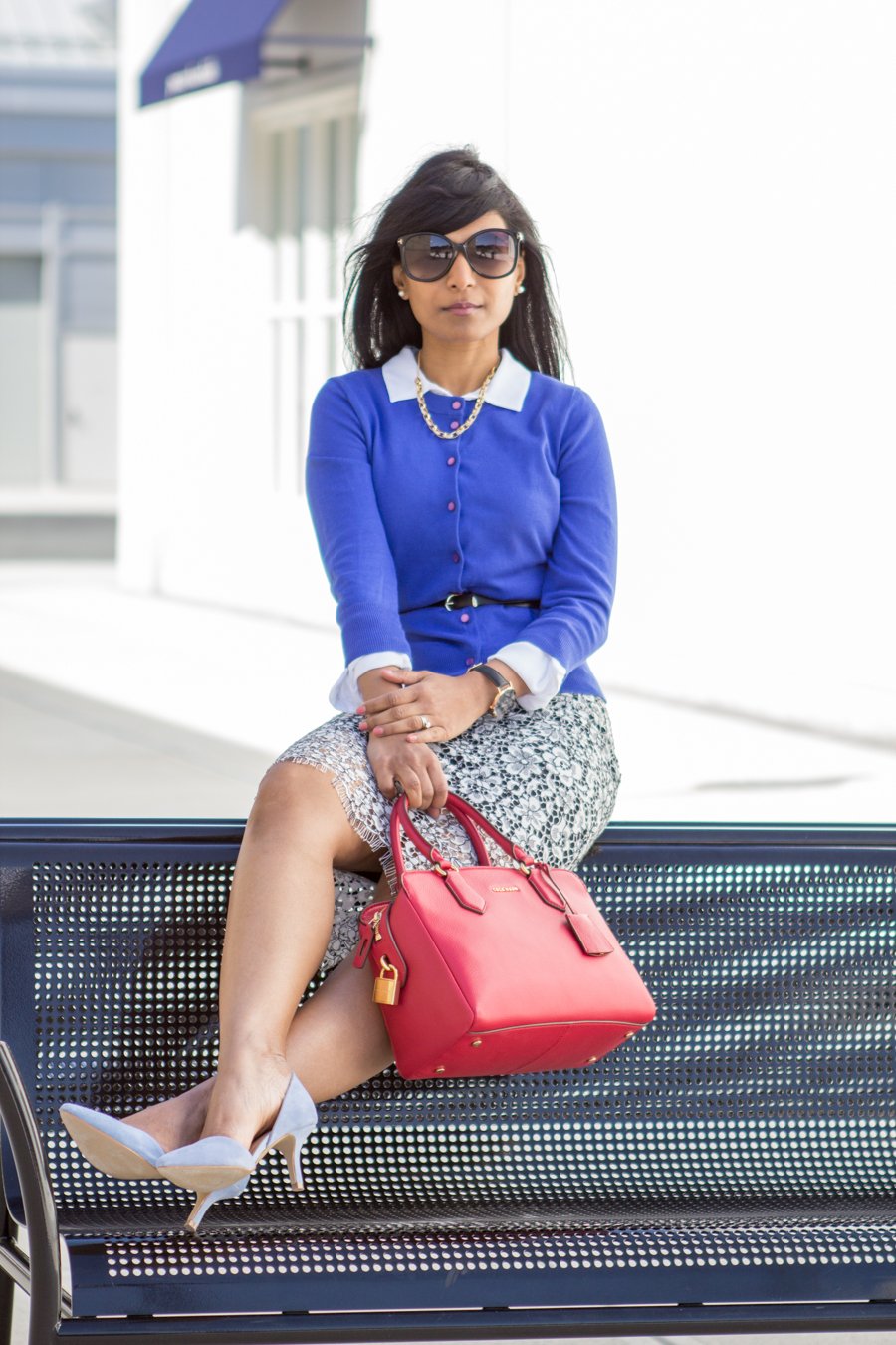 lace skirt, floral lace, pencil skirt, white button-down, cobalt blue cardigan, blue suede pumps, kitten heels, pointed toe, ann taylor, jcrew, h&m, cluse, corporate fashion, monday to friday style, 9 to 5 style, work wear, boss woman, dress for success, street style, boston, feminine style, work wear, corporate attire