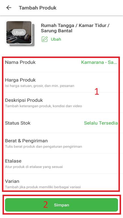 Mengisi Deskripsi/ Informasi Produk Jualan di Tokopedia Melalui Smartphone.