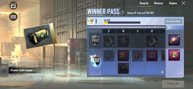 PUBGM Lite Season 25 Winner Pass released check 1 to 30 WP rewards