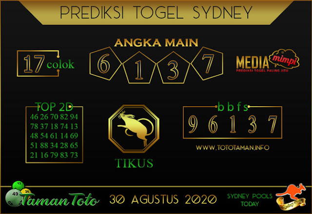 Prediksi Togel SYDNEY TAMAN TOTO 30 AGUSTUS 2020