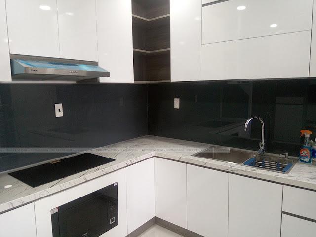 Hình thực tế thiết kế và thi công xây dựng thô đến hoàn thiện full nội thất căn hộ chung cư Saigon South Residences Phú Mỹ Hưng - SSR - Phòng Bếp
