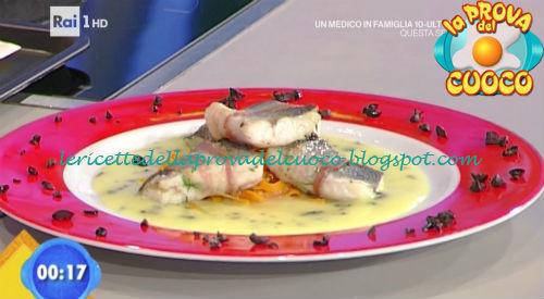 Tranci di spigola bardati su crema di patate ricetta Rossi da Prova del Cuoco