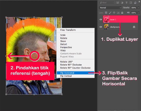 Tahapan memutar gambar secara horisontal di Photoshop